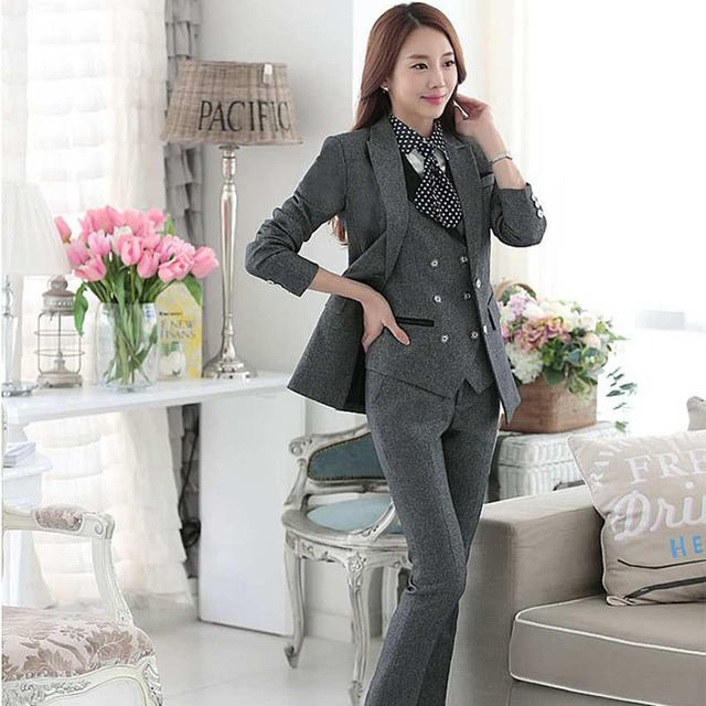 6c939a1084f 4 pieces ladies evening suits blazer femme grande taille women formal suits  workwear jacket sets black
