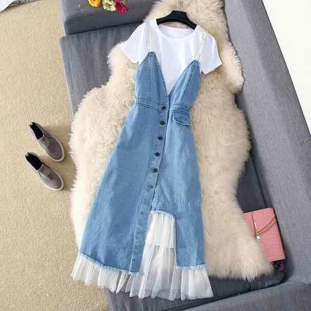 2019 летнее платье, джинсовое Сетчатое обтягивающее платье, пэчворк, офисное женское платье для работы DC852