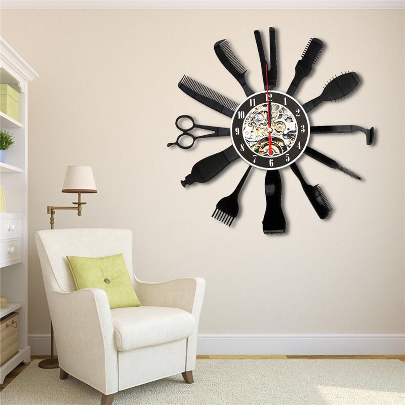 Charminer Hairdresser Salon Tool Art Vinyl Black Record Wall Clock Home Room Decor Gift App 30cmX30cm Vinyl Record