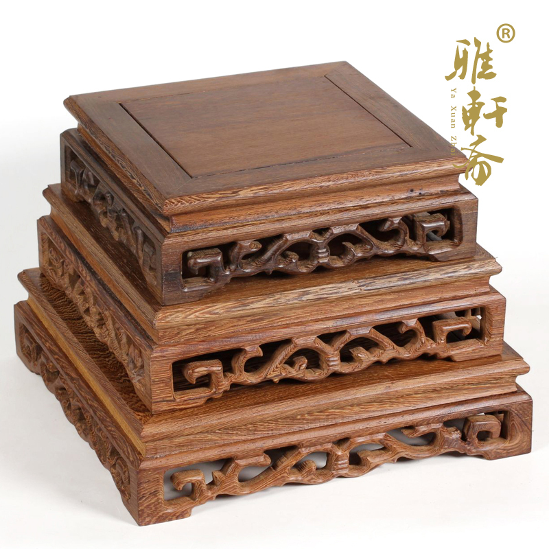 Zhai sculpté acajou bois pierre galerie décoration artisanat ailes en bois vases à fleurs en bois base en bois