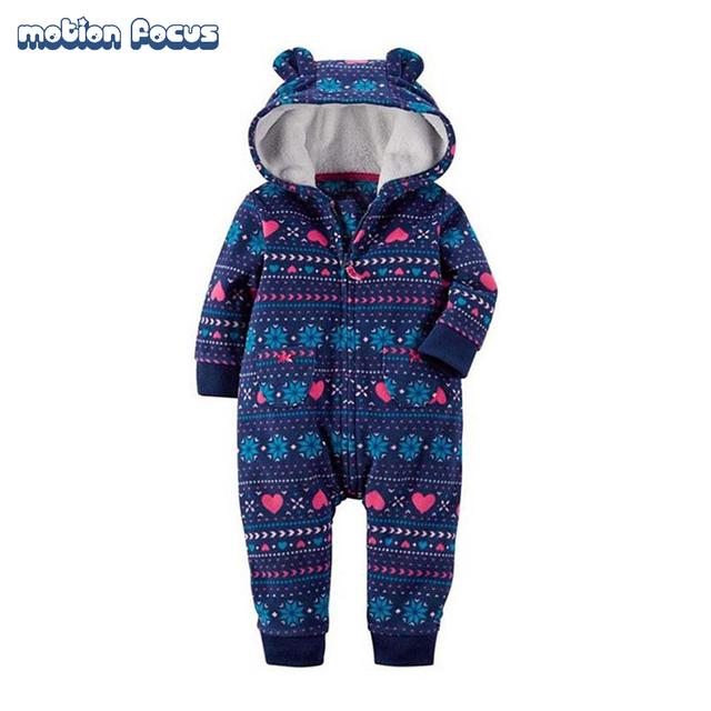 2017 primavera ropa de bebé recién nacido niños del mameluco del invierno de la muchacha de los mamelucos del bebé de manga larga de lana con capucha ropa de dormir next bebe traje