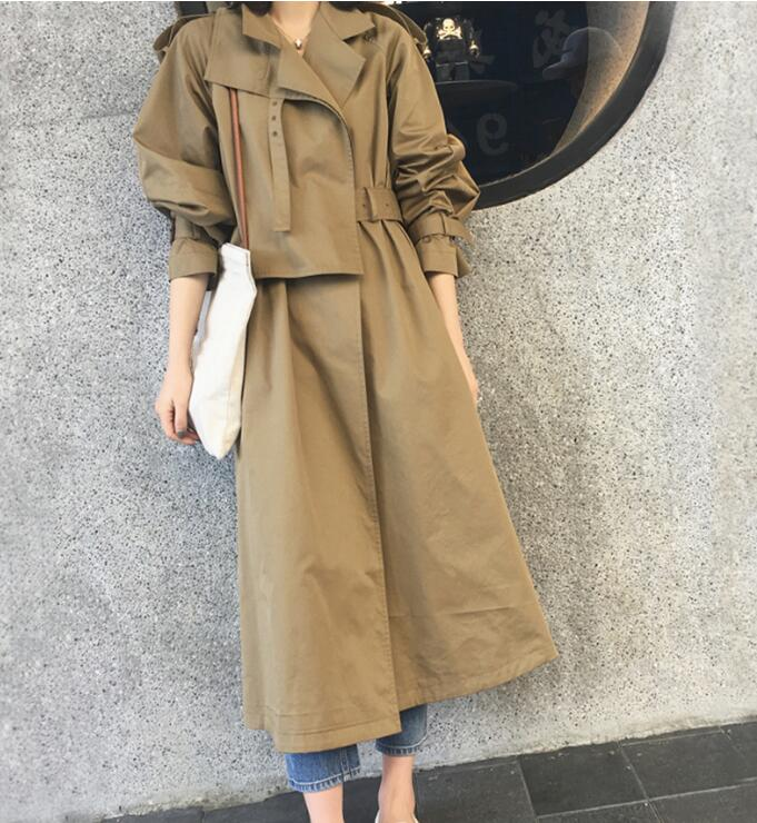New 2019 French Design Women's Casual   trench   Overcoats With Belt Top quality Spring Fall
