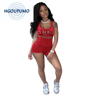 Letter Rhinestones Sexy Two Piece Set Women's Costumes O Neck Sleeveless Crop Top And Biker Short Summer Plus Size Beach Outfit