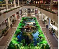 Modern Custom 3D Floor Mural Animal Stereoscopic 3D Painting PVC Wall Paper Self adhesive Floor Mural 3D Wallpaper