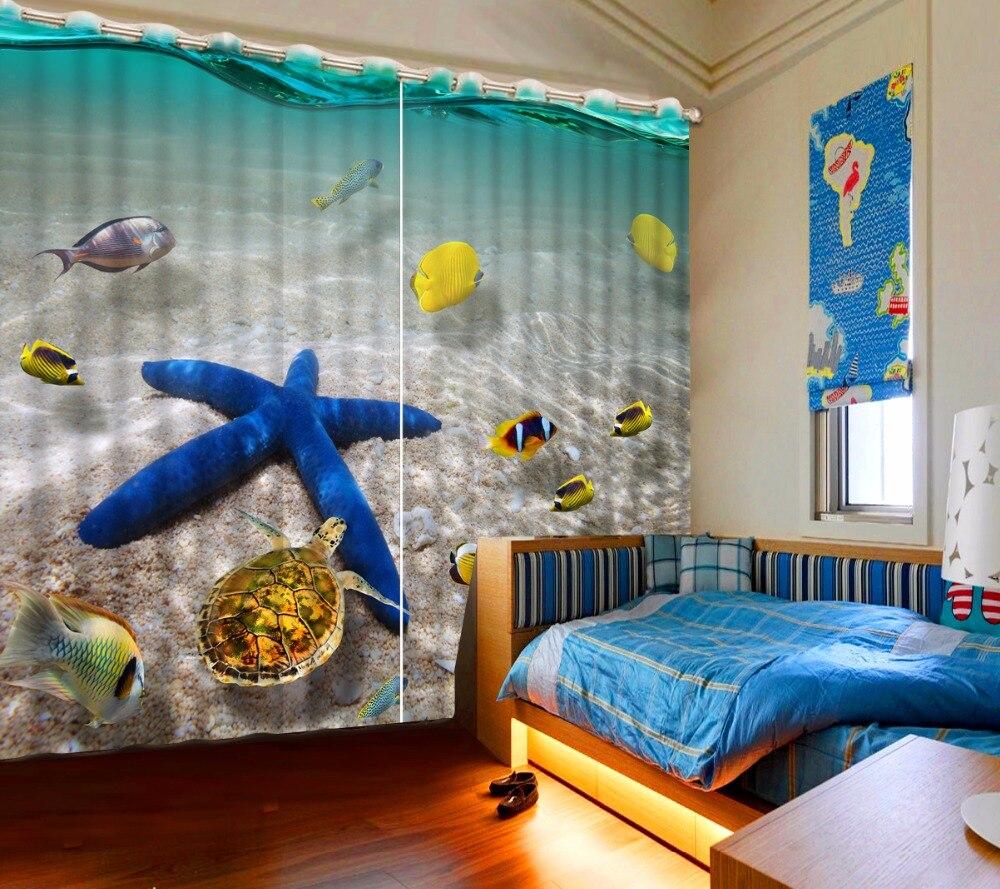3D Curtain Fashion Beach Starfish Undersea Turtle Curtains For Bedroom Custom Any Size 3D Curtain Blackout Curtain Living Room