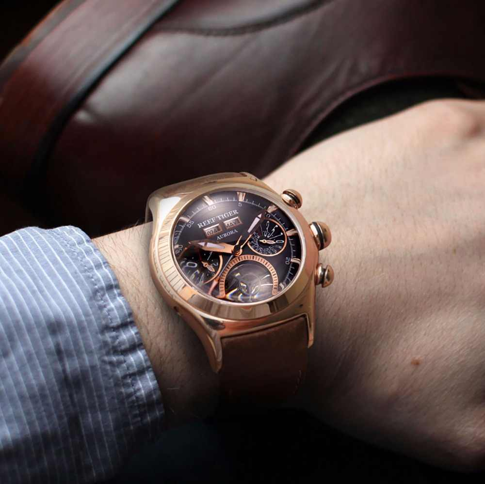 Reef Tiger/RT Luxury Brand Sport Watches Genuine Leather Strap Tourbillon Men's Automatic Watch Clock Relogio Masculino RGA7503
