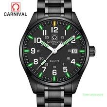 2017 Nuevo Genio de Gas Tritio Carnaval de Hombres Reloj Luminoso Impermeable Reloj de Cuarzo Masculino Militar de Acero Completo relojes de Luz Natural