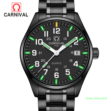 2017 New Genius Tritium Gas Carnival Luminous Watch Men Waterproof Quartz Watch Male Full Steel Military watches Natural Light