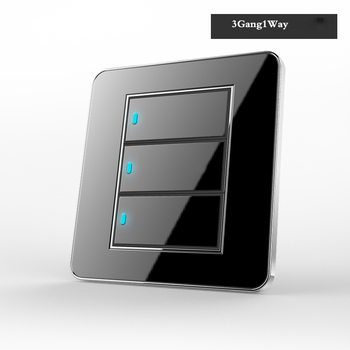 Type 86 Black mirror switch Household Wall TV Computer socket LED Light- Point switch 1 2 3 4 gang 1 2 way  EU socket USB 10