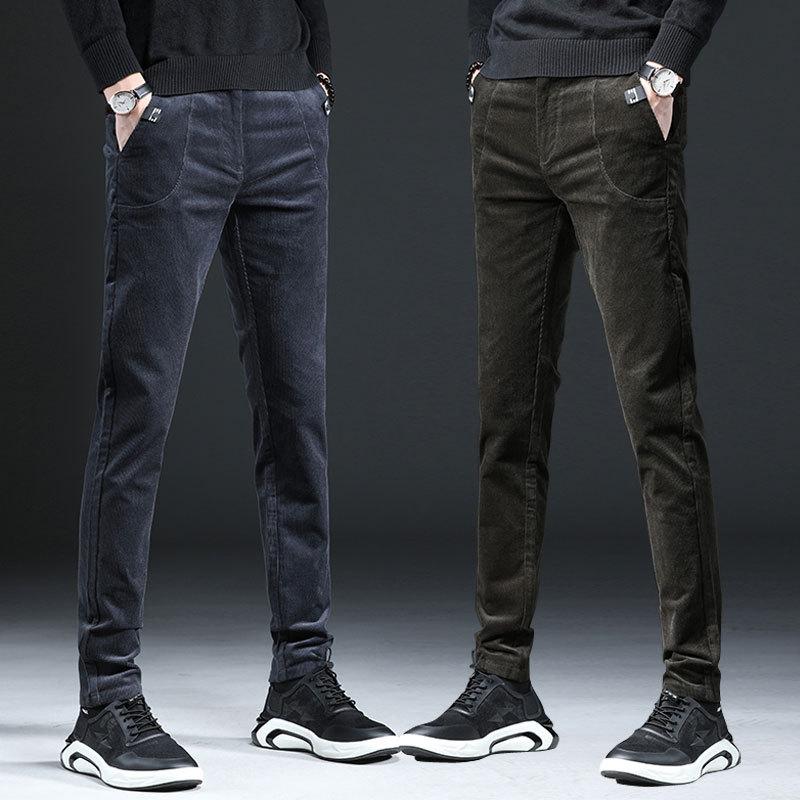 ICPANS Slim Formal Men Business Suit Pants Male Fashion Streetwear Trousers Office Mens Velvet Dress Pants Corduroy Black