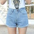 Mulheres shorts Jeans femininos primavera verão soltas shorts de cintura Alta Retro fino friso moda curtas jeans tamanho lager 26-32