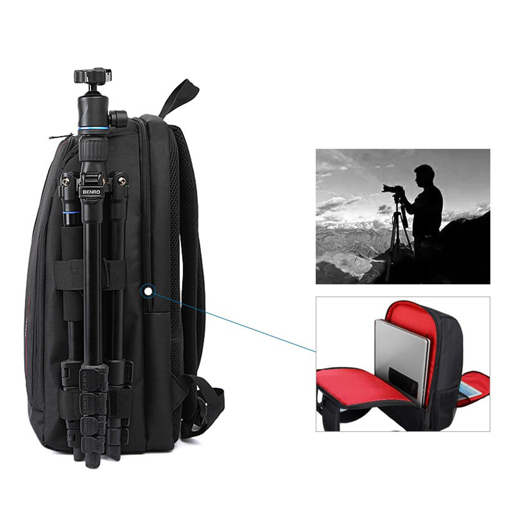Water-resistant Waterproof Digital DSLR Photo Padded Backpack Rain Cover Laotop Multi-functional Camera Soft Bag Video Case