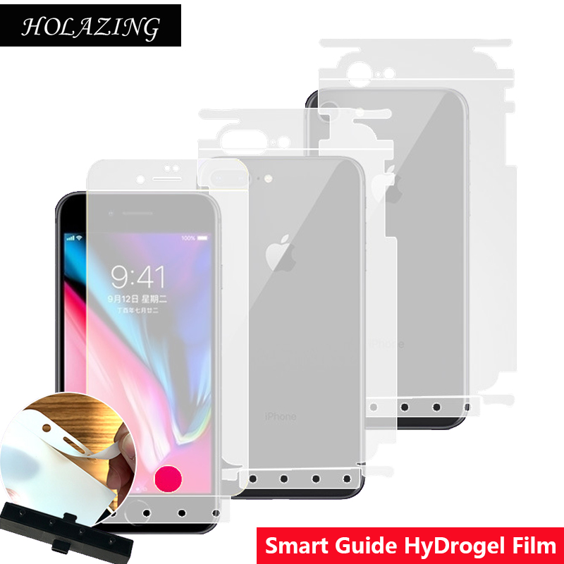 super popular 7706c 22cf7 US $0.87 19% OFF|Smart Guide Tool Soft AUTO Fixed Hydrogel Film Full Cover  Screen Protector for iPhone 8 Plus 5.5