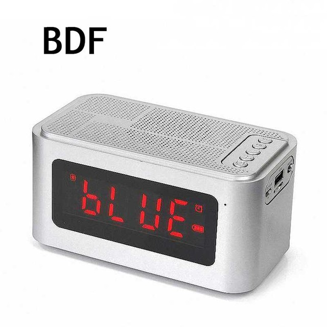 Bdf Portable Bluetooth Speaker S61 Time Display Alarm Clock Stereo Soundbar Hands Free Call Tf Aux Mic Active Wireless
