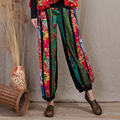 2017 New National Wind Printing Stitching Cotton and Linen Wide Leg Pants Leisure Fat Leg Straight Trousers Female