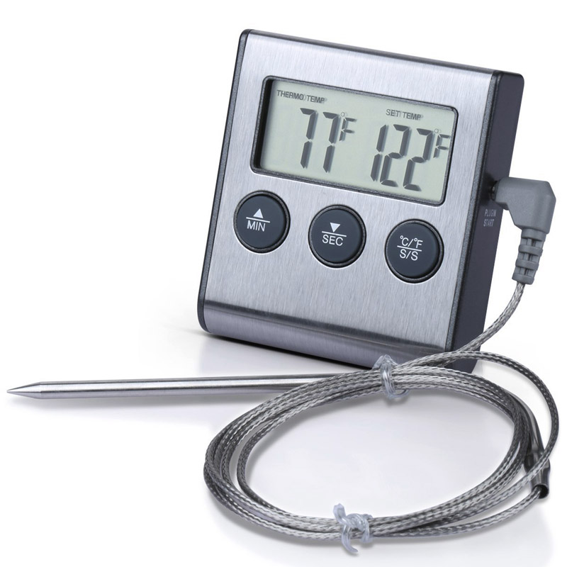 Multi-function Digital Grill BBQ Oven Meat Thermometer/Food Cooking Kitchen Timer Stainless Steel --M25