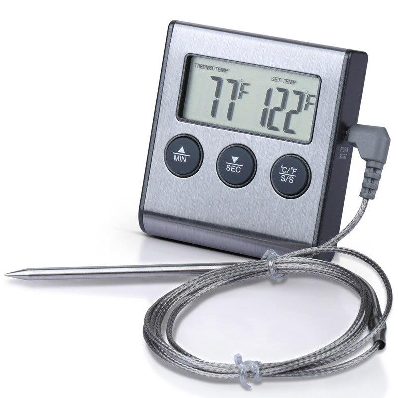 Multifunktions Digital Grill Ofen Fleisch Thermometer/Lebensmittel Kochen Küche Timer Edelstahl -- M25