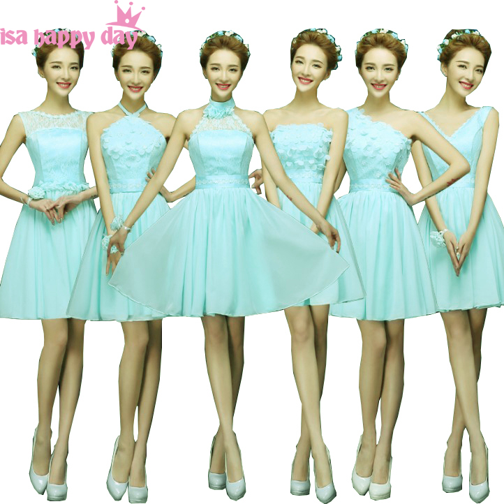 lace top short light blue mint   bridesmaid     dress   china brides maid party chiffon   dresses   2019 for wedding guest under $50 H4238