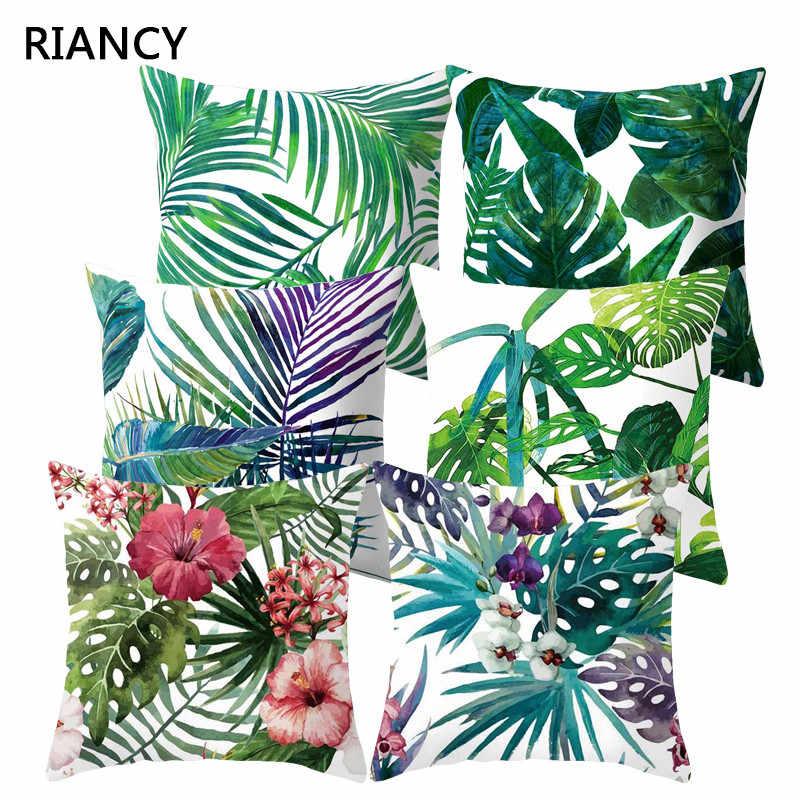 Poduszki dekoracyjne na sofę okładka tropikalny liść, roślina poduszka poszewka poliester 45*45 rzuć poduszka Home Decor poszewka na poduszkę 40506-X