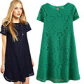 New  Summer Women's Short Sleeve Sexy Lace Shift Dress Loose Princess Mini Dress Vestidos Femininos Plus Size S-4XL