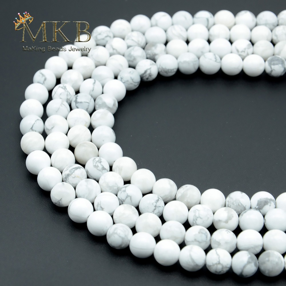 Natural Stone White Turquoises Howlite Round Beads For Beads Jewelry Making 4 6 8 10 12mm Gem Loose Beads Diy Bracelet Wholesale Convenient To Cook Jewelry & Accessories