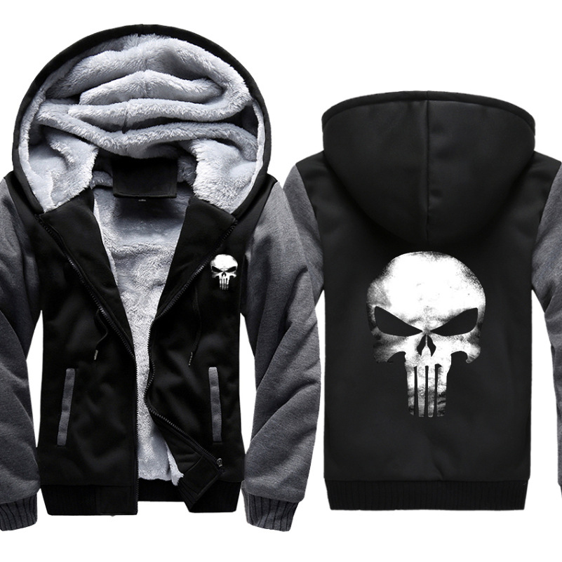 Punisher Skull Cosplay Mens Jacket Hoodie Thicken Camouflage Sleeve Zipper Coat