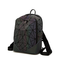 DIOMO Fashion Luminous Irregular Triangle Sequin Backpack for Women Fashionable Rucksack Female Backbag Korean