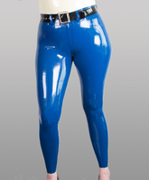 Women sexy blue latex tights jeans for women fetish rubber pants w/o belt plus size hot sale S XXL Customize service