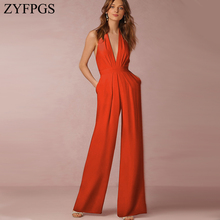 ZYFPGS 2019 Women Bodysuit Rompers Ribbon Decoration Tight Womens Jumpsuit Personality V Collar Fashion Hollow Sale XL Z1231