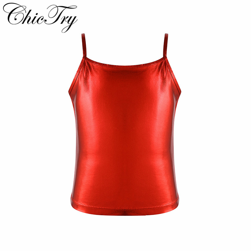 Show details for Big Girls Teenage Spaghetti Shoulder Straps Shiny Metallic Color Camisole Tank Top For Dance Competition Stage Performance