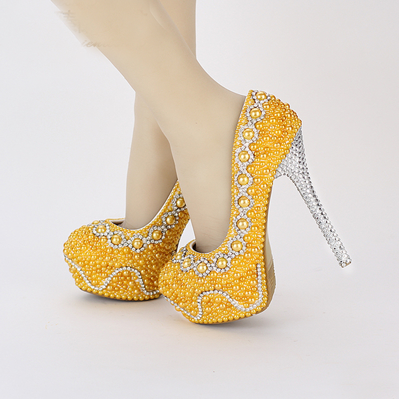 ad225753564 2018 Comfortable Bridal Shoes Green Pearl Wedding Shoes Handmade Banquet  Prom Platforms Women Formal Dress Shoes Yellow Green-in Women s Pumps from  Shoes on ...