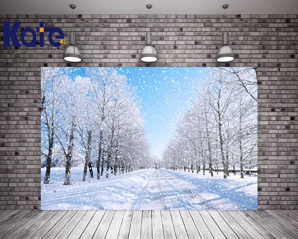 Kate Winter Photography Backgrounds Snow Tree Scenic Photography Backdrops Street Backgrounds-For-Photo-Studio With Blue Sky blue sky чаша северный олень