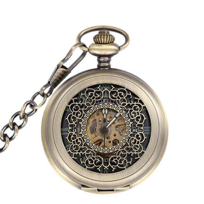 Steampunk Skeleton Bronze Automatic Mechanical Pocket Watch Men Vintage Hand Wind Clock Necklace Pocket & Fob Watches With Chain цена и фото