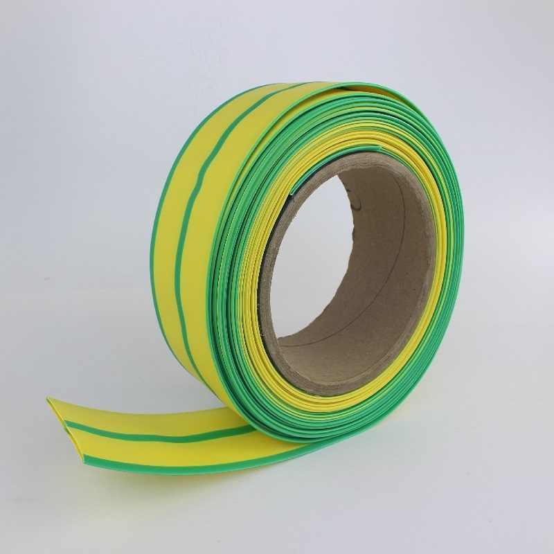 5MM Tubo Do Psiquiatra Do Calor tubulação shrinkable Dupla cor verde-Amarelo Amarelo e Verde de Alta qualidade dupla cor cabo mangas