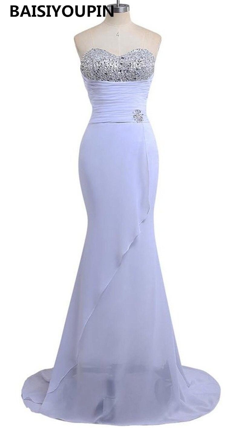 Robe De soirée 2019 Nouveaute mousseline De soie blanche perles cristaux élégante sirène robes De soirée robes