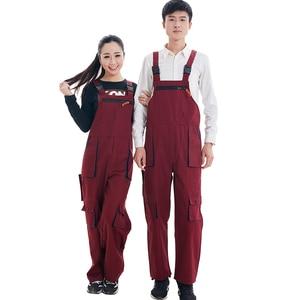 Image 2 - גברים נשים סינר סרבל עבודת בגדי מגן סרבל טכנאי רצועת סרבלי עבודה מדים שרוולים סרבל