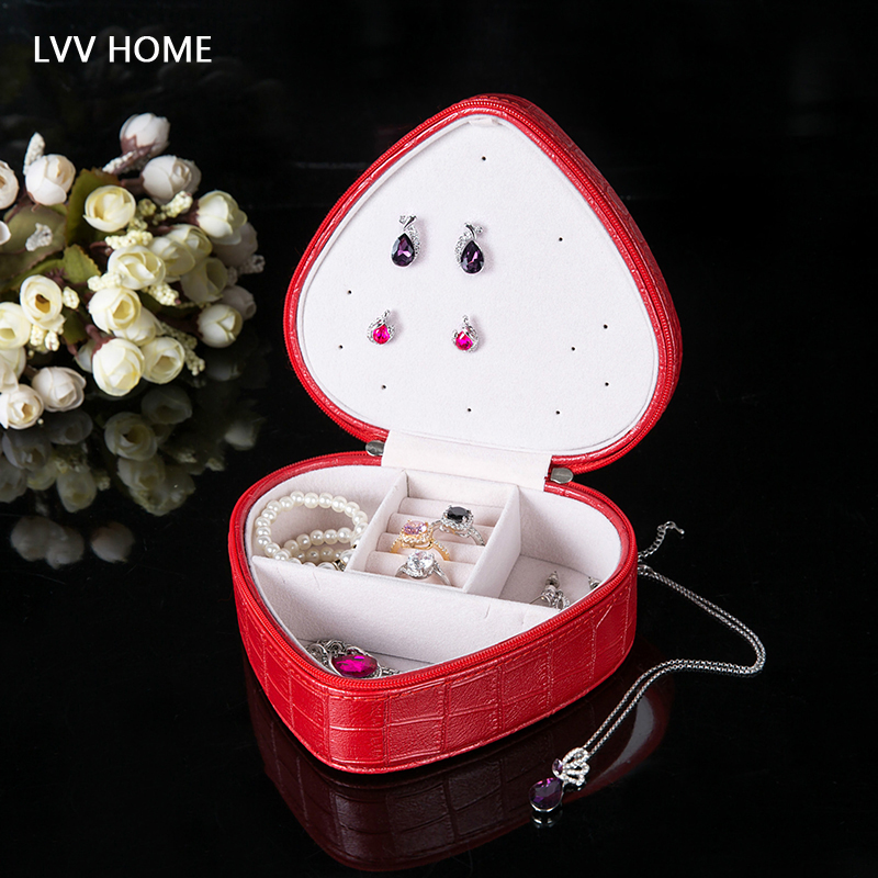 LVV HOME litchi pattern jewelry storage box/Earring ring boxes christmas girlfriend gift mini portable jewel box