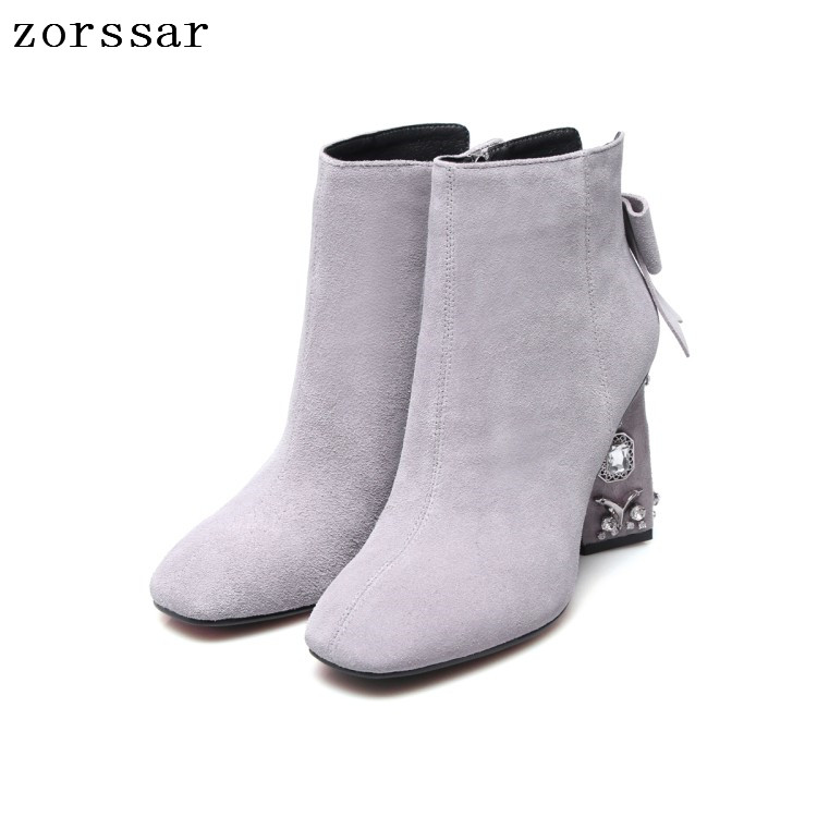 {Zorssar} 2019 Fashion Rhinestone High heel Ankle Boots Winter Shoes Women Suede Leather boots Big brand design Big Size 34-43{Zorssar} 2019 Fashion Rhinestone High heel Ankle Boots Winter Shoes Women Suede Leather boots Big brand design Big Size 34-43