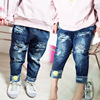 Children Broken Hole Pants Spring Kids Trousers Jeans For Girls Casual Pants Children Tracksuits Smile Face