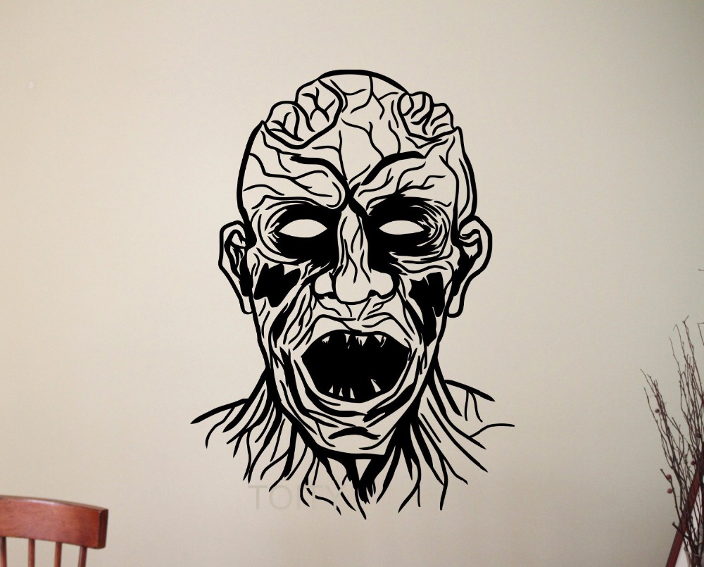 The Line Art And Living : Zombie head wall sticker vinyl decal home interior art decoration