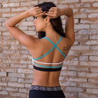Oyoo Lightweight Wireless Contrast Blue White Strappy Back Sports Bra For Small Chest Low Support Padded