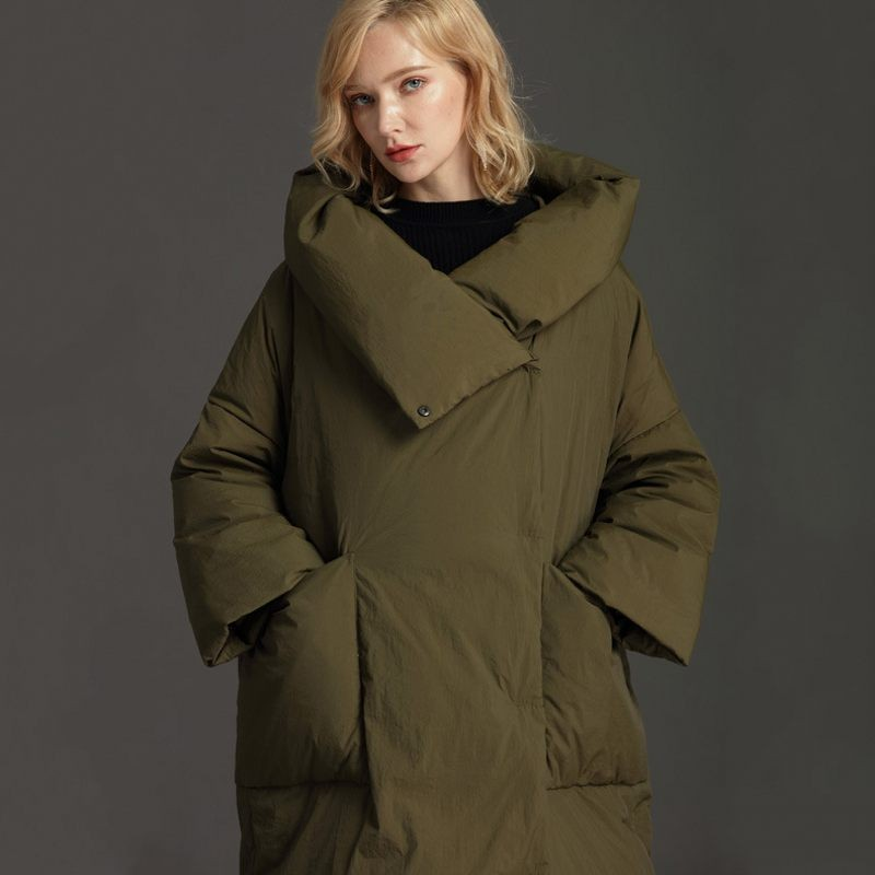 Casual Loose Fit Plus Long Down Jacket Women Hooded Oversize 7XL Pocket Lightweight Duck Down Coat Female Winter Clothes 2019