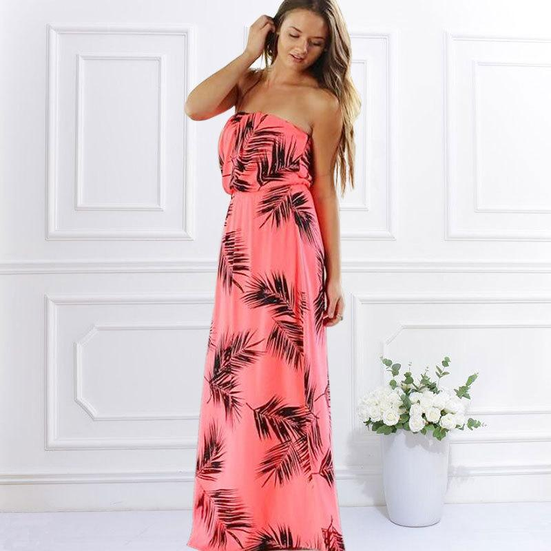 Buy Cheap High Quality Beach Long Dresses Summer 2017 New European and American Tropical Style Wrapped Chest Off Shoulder Maxi Dress