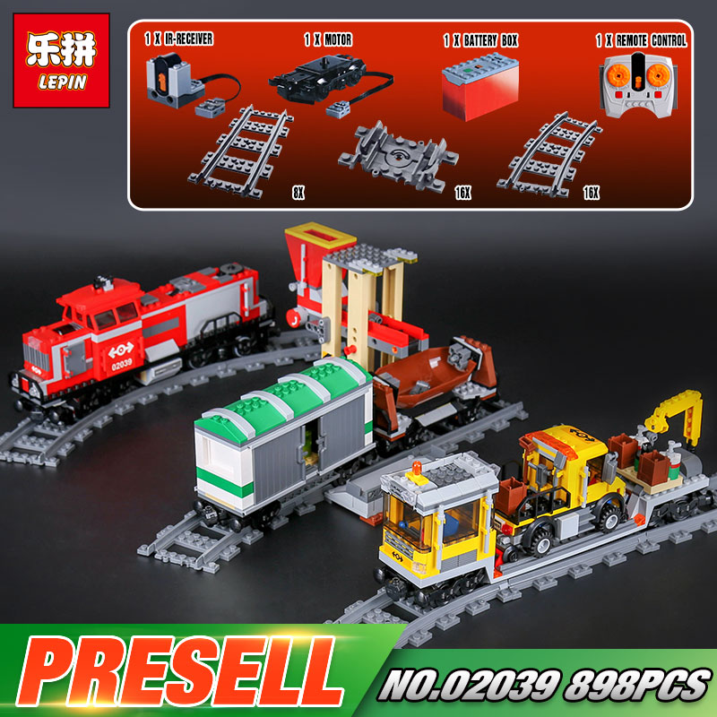 Lepin 02039 Genuine 898Pcs City Series The Red Cargo Train Set 3677 Building Blocks Bricks Educational Toys As Christmas Gifts lepin 02082 new 829pcs city series the cargo terminal set diy toys 60169 building blocks bricks children educational gifts model