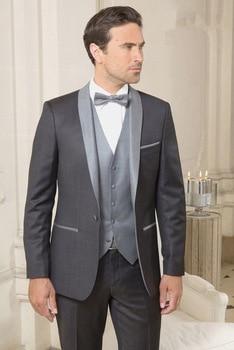 New Design One Button Groom Tuxedos Shawl Lapel Groomsmen Best Man Mens Wedding Suit (Jacket+Pants+Vest+Tie) W:272