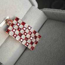 Natural red garnet gem pendant S925 silver Natural gemstone Pendant Necklace trendy large Square women wedding fine jewelry
