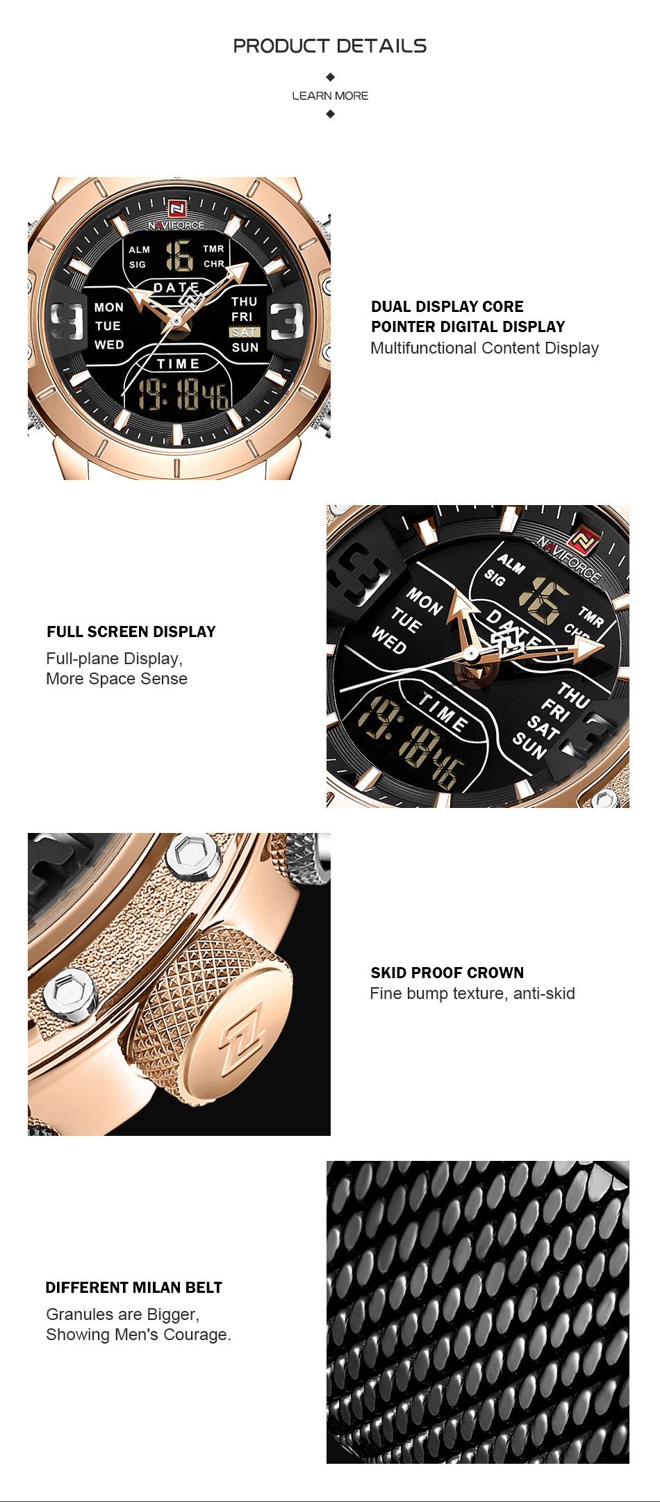 NAVIFORCE 2019 Men Military Waterproof LED Quartz Sport Watches Military Stainless Steel Mesh Male Business Relogio Masculino  (4)