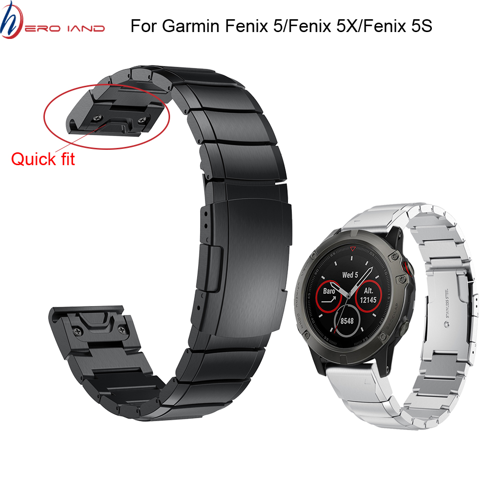 26 22 20MM Watchband Strap For Garmin Fenix 5X 5 5S 3 3HR D2 S60 GPS Watch Quick Release Stainless Steel Strip Wrist Band Strap