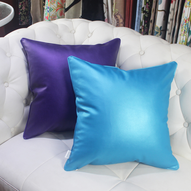 Hao Joy Europe Luxury Glossy Soft Faux Leather Cushion Cover Import Fabric Home Decor Square Colors