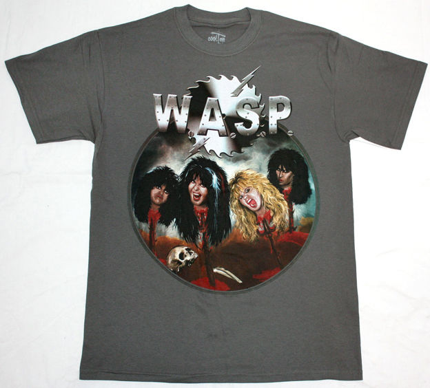W.A.S.P. HEADS HEAVY METAL ALICE COOPER TWISTED SISTER KISS NEW GREY T-SHIRT 100% Cotton Fashion T-Shirts top tee